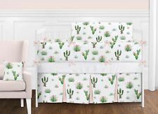 Pink Green Boho Watercolor Cactus Floral Baby Girl Crib Bedding Set with Bumper