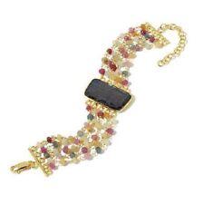"""Rarities Carol Brodie Brown Sapphire Slice & Multicolor Bead Vermeil 7"""" Bracelet"""