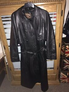 Ladies Full Length Black Real Leather Long Trench Coat Size 16 Goth Jacket Women