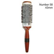 Hair Brush Ceramic Large Diameter 43mm Round Wooden Handle Grip Head Jog No.58