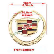 "Gold Wreath Crest 6"" front Tailgate Truck 3D Emblem Badge Sticker for Cadillac"