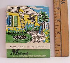 VINTAGE MIDLAND FEDERAL SAVINGS & LOAN JUMBO FEATURE ADVERTISING MATCHBOOK COVER