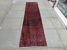 Vintage Traditional Hand Made Oriental Red Blue Wool Long Narrow Runner 276x70cm