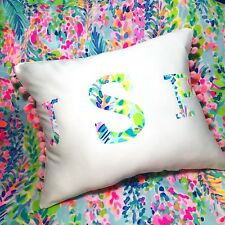 Sale! NEW Monogram pillow LILLY PULITZER Multi Catch The Wave You Choose Initial