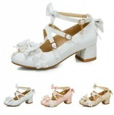 Women's Lolita Ankle Strap Bowknot Round Toe Low Heel Mary Janes Shoes Cosplay D