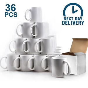 36x Sublimation Mugs 11oz Heat Press White Ceramic Coated Large Handle Plain Mug