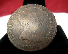 1836 SPAIN 8 MARAVEDIS COPPER YOUNG HEAD ISABEL 2 POR LA GRACIA DE DIOS COIN