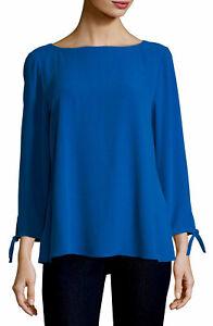NWOT Eileen Fisher Size S Petite Silk Georgette Tie-Sleeve Top Blouse Blue