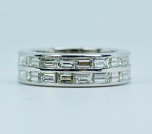 KWIAT Platinum Baguette Cut White Diamond 2 Row East West Ring Size 4.5