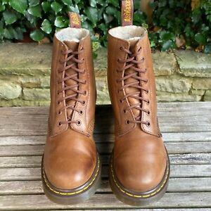 Dr Martens 1460 Serena Fur Lined Butterscotch Brown docs Boots Size UK 5 EU 38