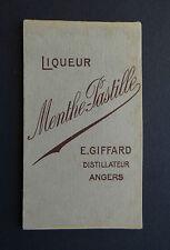 Ancien carnet bistrot MENTHE PASTILLE GIFFARD ANGERS calendrier 1951