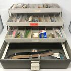 VTG PLANO 7300 3 Tray Tackle Box w/ Lures & Various Fishing Equipment