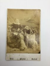 Cabinet Card Photograph Baby With Gorgeous Pet Animal Dog Acton Ontario Canada