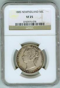 Original NGC VF25 1885 Newfoundland 50c--40,000 Mintage!