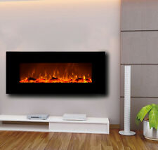 "Touchstone 50"" Onyx wall-mount electric fireplace, black. Heat, simulated flame"