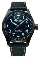 Alpina Men's Startimer Pilot Automatic Black Leather 44mm Watch AL-525NN4TS6