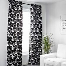 "IKEA Mattram Retro Black Cat Curtains 2 Panels 57"" x 98"""