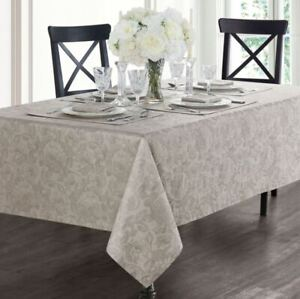 """Waterford Camille Floral Print Taupe 70"""" x 104"""" Tablecloth - NEW"""