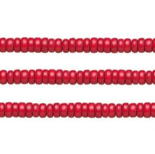 Wood Rondelle Beads Red 8x4mm 16 Inch Strand