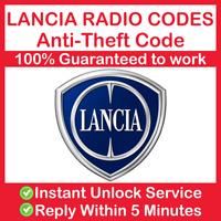 LANCIA RADIO CODE Stereo CD Instant & Expert Service