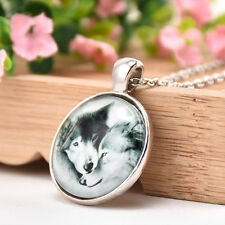Vintage Wolf Theme Cabochon Glass Pendant Chain Jewelry Necklace Fine Gift