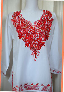 Red Embroidered Paisley White Color Cotton Tunic Top Kurti from India Large