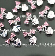 #EA133 10pcs Alloy Gem Nail Art Decoration Glitter Pink Bow Tie Dangling Heart