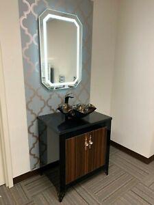 """30""""Bathroom Vanity black/Brown Wood complete set with LED Mirror, Granite top"""