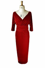 Baylis and Knight Red Velvet Wrap Dress pinup bombshell dita cocktail