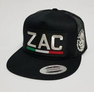 ZACATECAS  MEX HAT LOGO  METALIC  HAT   BLACK MESH TRUCKER   SNAP BACK  NEW boy