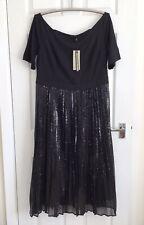Coast Black Sequin Evening Dress - Size 20