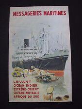 Vintage Poster MESSAGERIES MARITIMES A. Brenet  c1950 Levant Ocean Indien CARGO