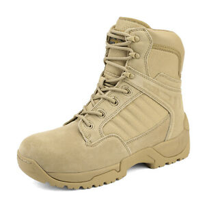 Men's Military Tactical Work Boots Side Zipper Leather Ankle-high Combat Bootie