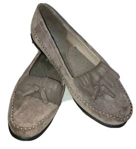 Dr Scholls Womens E23-QQ Comfort Suede Tassel Loafers Gray Shoes Size 10 M