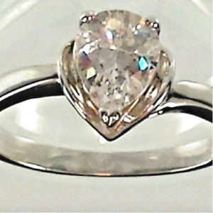 Ladies Silver Plated Birthstone  Cocktail Ring Sizes 6, 8, 9, 10 Cubic Zirconia