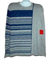 Saks Fifth Avenue Men's Gray Blue Stripes Cotton Sweater Sz XL NEW
