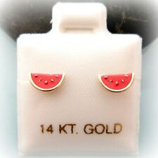 14K Solid Gold Red Watermelon Summer Screw Back Baby Children Girls Earrings