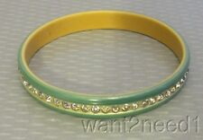 "20s vtg art deco GREEN CELLULOID RHINESTONE SPARKLE BANGLE 3/8"" wide bracelet"