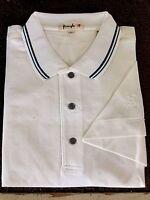 New NWT Pringle Mens White w Blue  Polo Style Golf Shirt w Pringle Sleeve Logo