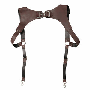 Men's Retro Leather Suspender Braces Medieval Renaissance Adjustable Buckle Hook