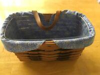 "Longaberger Basket 1993 Rectangular Green Weave 5"" Tall W/ Leather Loop 2 Liners"