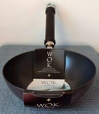 """8"""" (20cm) NON-STICK CARBON STEEL WOK with BLACK HANDLE ~ Heavy Duty ~ NEW!"""