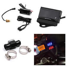 Red LED Motorcycle Water Temperature Meter Kit Gauge CNC Holder +22mm Connector