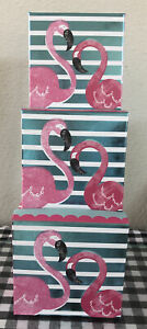 New Trio Nested Gift Boxes Flamingo Pink Polka Dots Nesting Tower