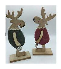 2er Set Elchpaar Holz Holzdeko Weihnachtsdeko Herzglocke Holzfigur 53006
