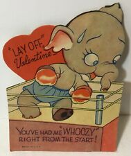 Vtg Antique DieCut Valentines Day Card Elephant Boxing You've Had Me Woozy Start