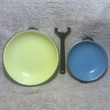 Vintage Enamel Saute Pans with Handle Made In Yugoslavia Yellow # 20, Blue # 15