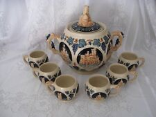 Vintage Marzi & Remy - Blue and Ivory Cider Punch set  Bowl and 6 Mugs pre 1964