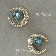 EARRINGS STUD 9K GF 9CT ROSE GOLD MADE WITH SWAROVSKI CRYSTAL BLUE CRESCENT