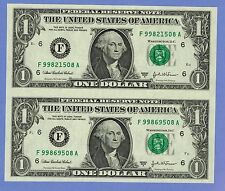 UNCUT SHEET LOT OF 2- ONE 1 DOLLAR BILLS US CURRENCY PAPER MONEY 2003